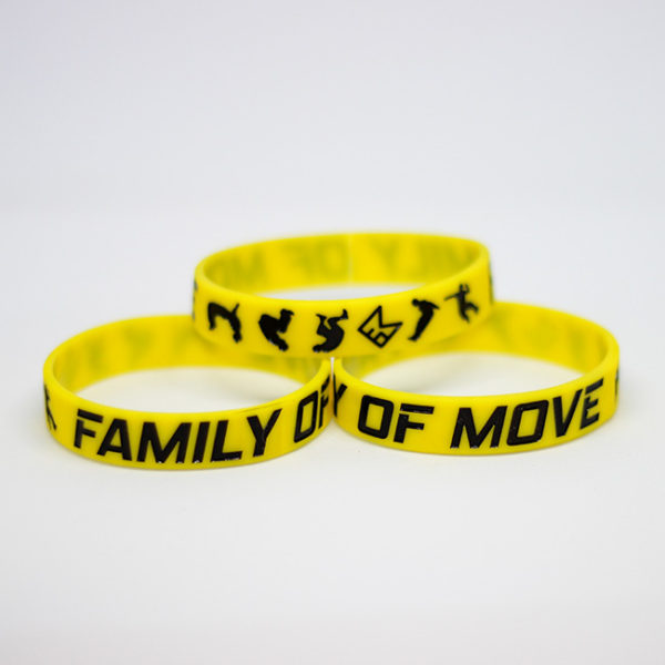 Žlutý náramek s parkour motivem